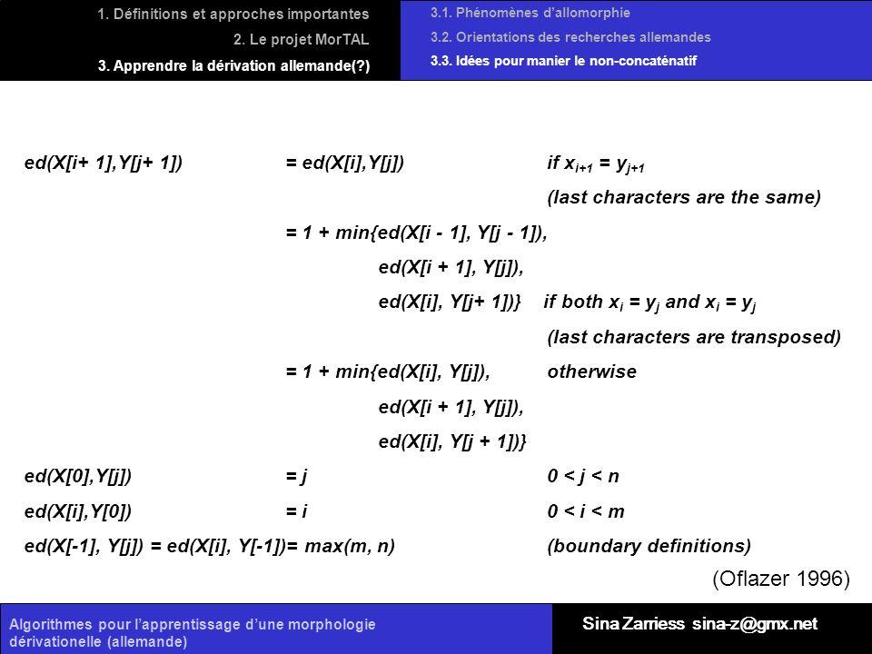 (Oflazer 1996) ed(X[i+ 1],Y[j+ 1]) = ed(X[i],Y[j]) if xi+1 = yj+1